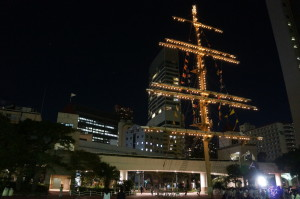 竹芝の船の帆のモニュメント