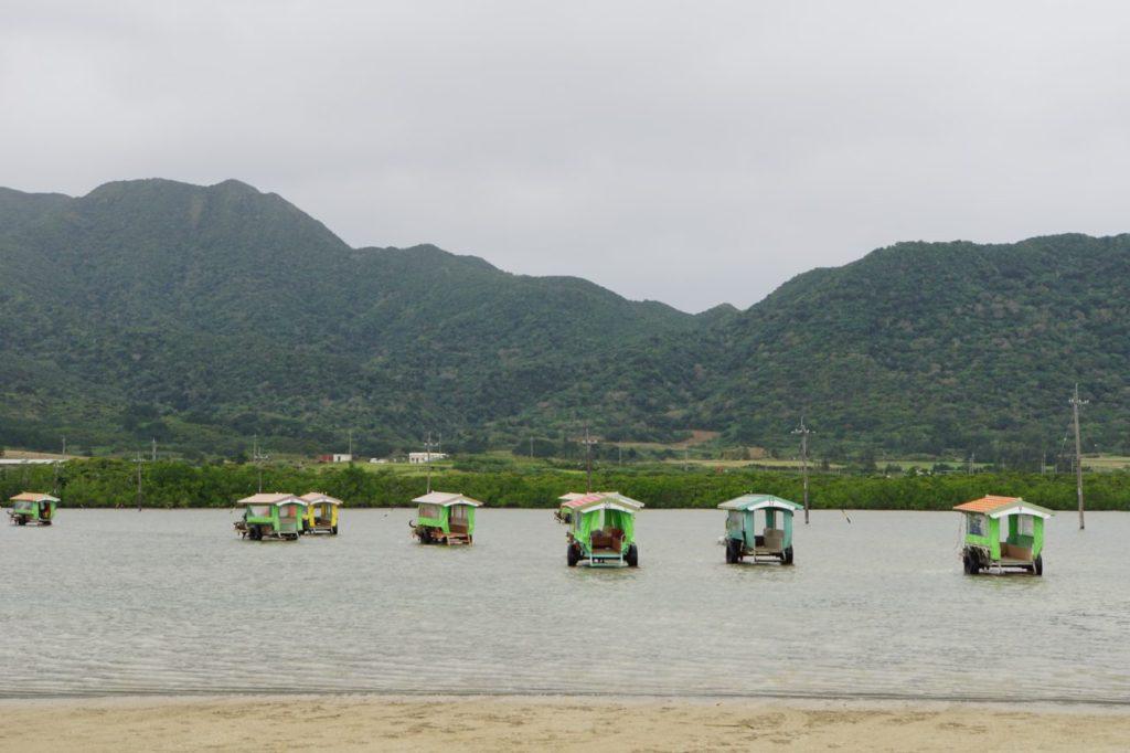 由布島への水牛車の一団