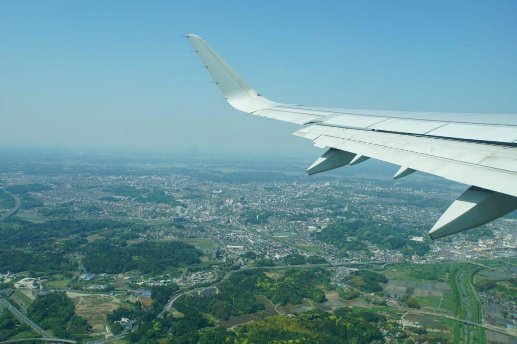 成田空港離陸直後の景色
