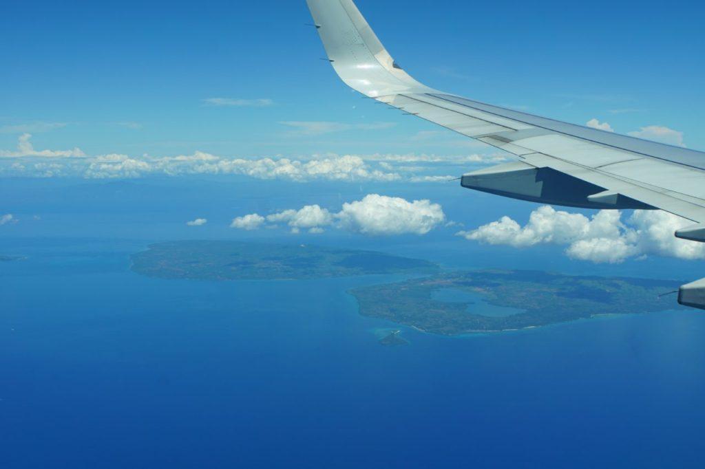 セブ島行きフィリピン航空から見たフィリピンの島
