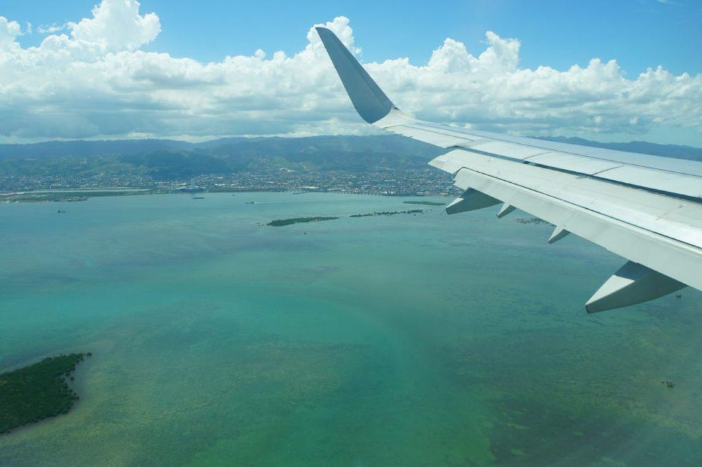 飛行機から見たセブ島の海