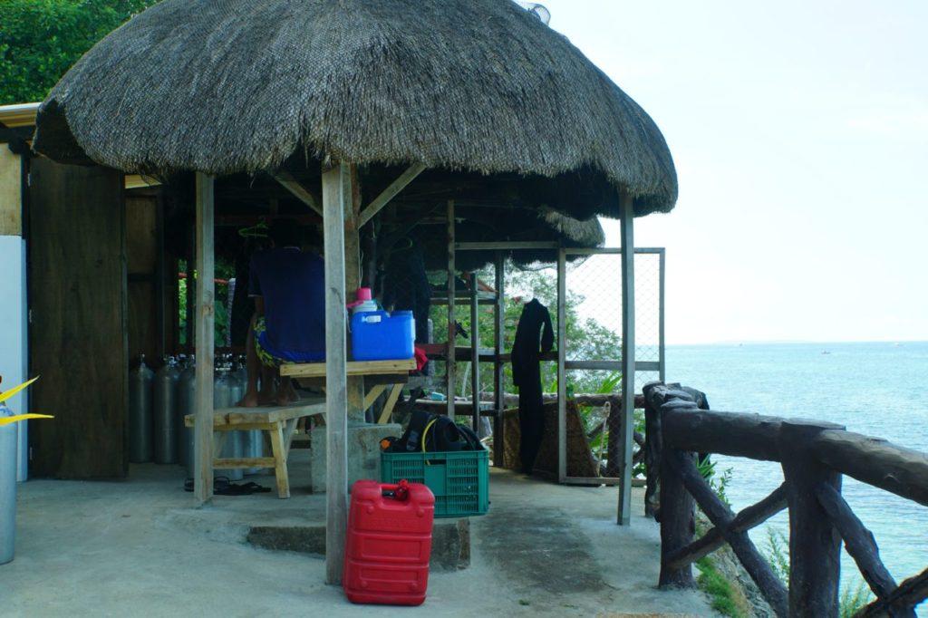 ノバビーチリゾートのダイビング機材置き場