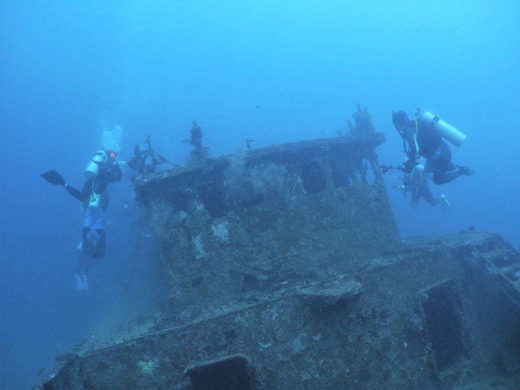 モルディブ南マーレ環礁のクダ・ギリにある沈船