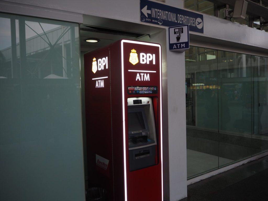 マニラ空港にあるBPIのATMでキャッシング