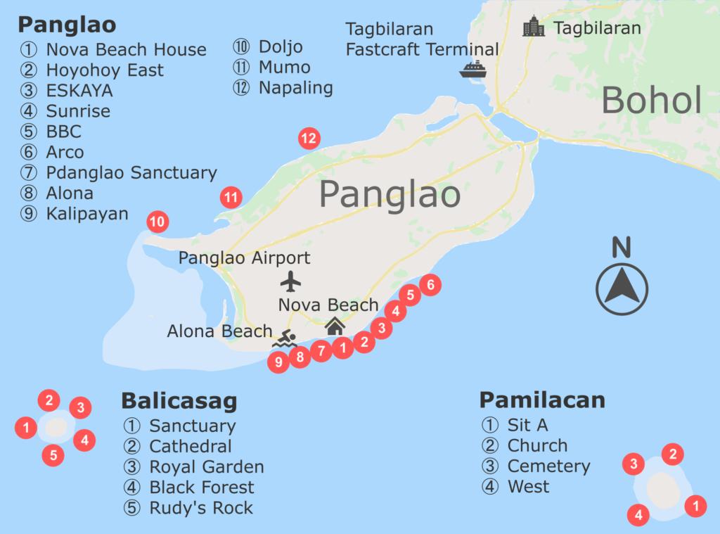 ボホール島ダイビングマップ